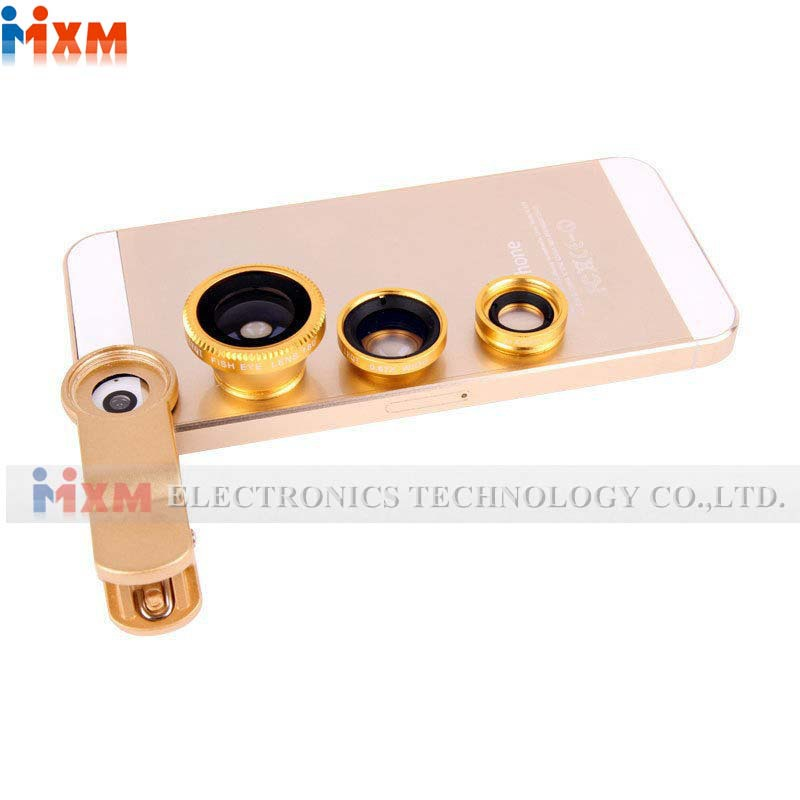 for Samsung S6 S5 for iPhone 6 Plus 5 5S 4S Universal Clip 3 in 1 On Fisheye Fish Eye Wide Angle Macro Mobile Phone Camera Lens