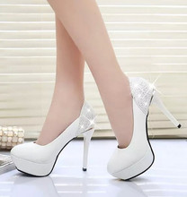 High heels female shoes with waterproof and fine fish mouth round Sexy Club White women shoes high heels(China (Mainland))