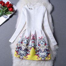 NEW2015 Autumn Winter Girls Dresses For Girls Kids Floral Printed Long Sleeve Formal Children Dresses Teenagers