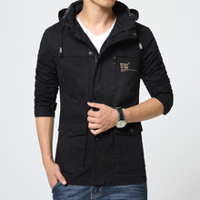 2016 New Casual Hooded Spring Jacket Men Slim Cotton Military Style Jackets Good Quality Detachable Cap Casual Jacket Men