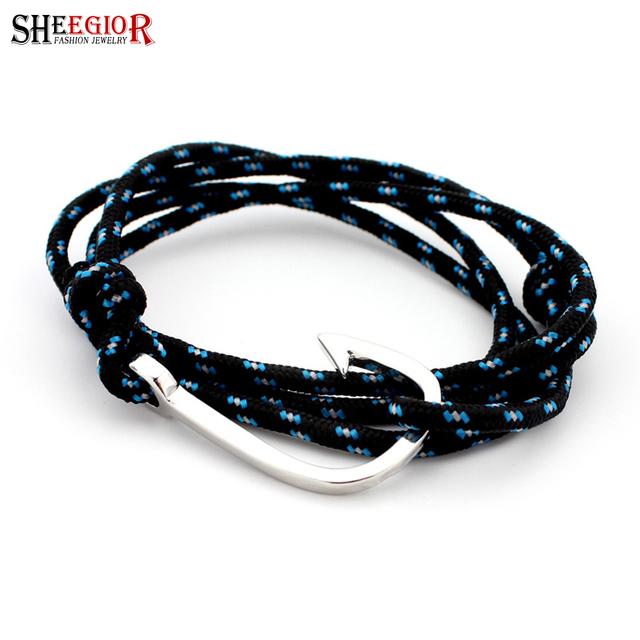 Серебряная пряжка якорь браслет homme Multi веревки браслеты для женщины мужчины ...