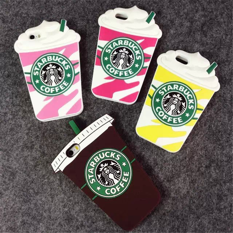 Hot Sale 3D Cartoon Silicon Starbuck Coffee Cup Case Cover for Apple iPhone 4 4s 5 5s SE 6 6S 6 Plus Mobile Phones Free shipping(China (Mainland))