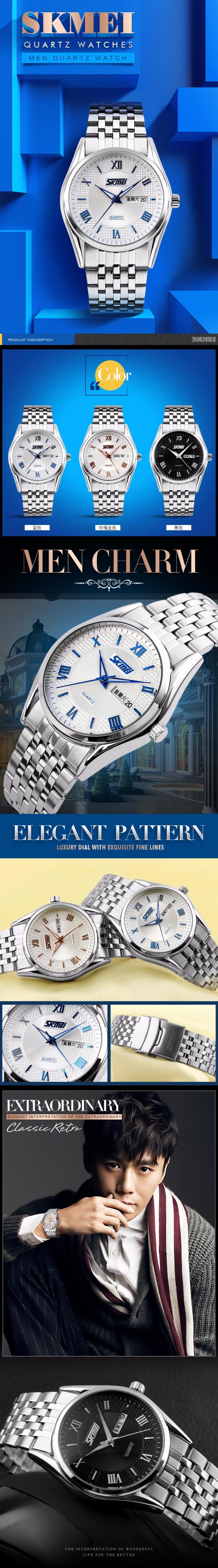 Бесплатная Доставка! SKMEI НОВЫЕ Прибытия 9102 Часы Мужчины Полный Сталь Водонепроницаемый Авто дата Кварцевые Часы Мода Наручные Часы