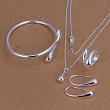Wholesale Women's silver plated jewelry set, fashion jewelry,Nickle antiallergic teardrop Ring Earrings Bracelet S222(China (Mainland))
