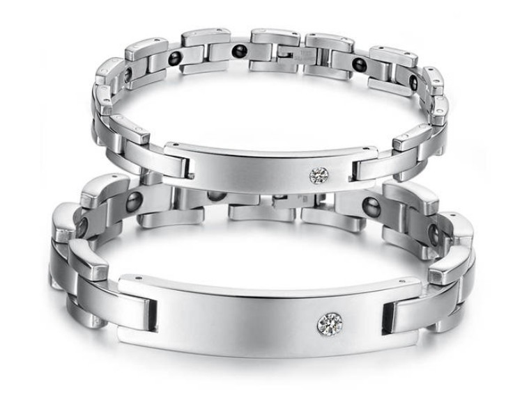 316L Stainless Steel Bracelet with magnet stone or Germanium White Ion Couple Energy magnetic bracelet for lover!(China (Mainland))