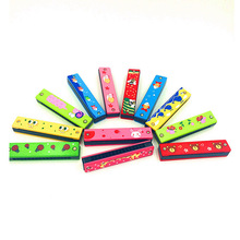 Wholesale 10pcs/lot high quality Educational Musical Colorful Wooden Painted Harmonica Instrument Toys Baby toys free shipping(China (Mainland))