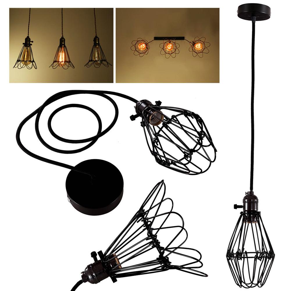 Edison Retro Antique Vintage Ceiling Pendant Light Lamp Shade Chandelier Cage Hanging Lampshade Black(China (Mainland))