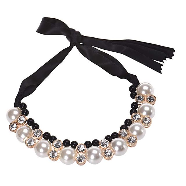 Ожерелье лучшее предложение мода женщины двойной ряд регулируется группа лента бусины горный хрусталь имитация-жемчужные чокеры подарок 1 шт.