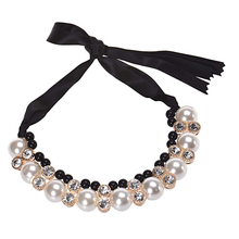 Best Deal Fashion Women Double Row Adjustable Band Ribbon Beads Rhinestone Necklace Imitation Pearl Chokers Necklaces Gift 1PC(China (Mainland))