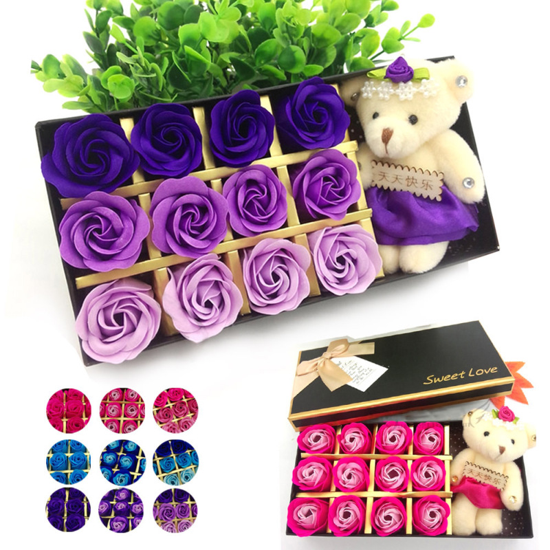 1 box creative colorful flower beautiful rose birthday gift for girls friends couples gift soap flower for valentine's day s5(China (Mainland))