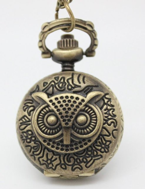 free shipping small size owl pocket watch necklace. 27*27mm size. 80cm chain length