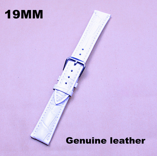 1PCS High quality 19MM genuine leather Watch band watch strap watch belt white color -130601103(China (Mainland))