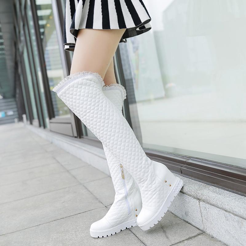 Здесь можно купить  New big size 34-44 women shoes Fashion Round Toe Height Increasing high heel botas Ruffles decoration thigh high boots AYY-906  Обувь