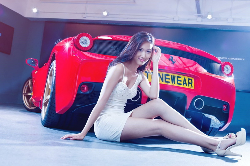 Giclee Canvas Prints Stretched Framed Fine Art Artwork For Wall <font><b>Decor</b></font> <font><b>Asian</b></font> White Dress Red Cars Model Women With