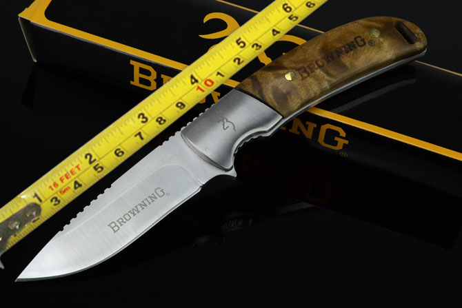 Browning 338 wood handle Full tang Survival Bowie knives Survival Pocket Hunting Knife FK200(China (Mainland))