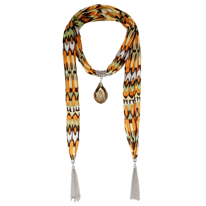 2015 Lureme Bestselling Striped Scarf Necklace with Water Drop Light Yellow Pendant Fashion Scarves for womens(China (Mainland))