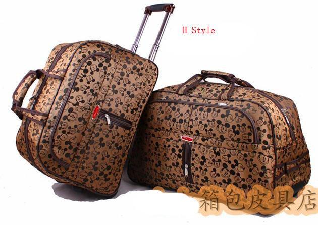unisex cartoon trolley travel bag rolling wheels huge volume women & men jacquard luggage bags
