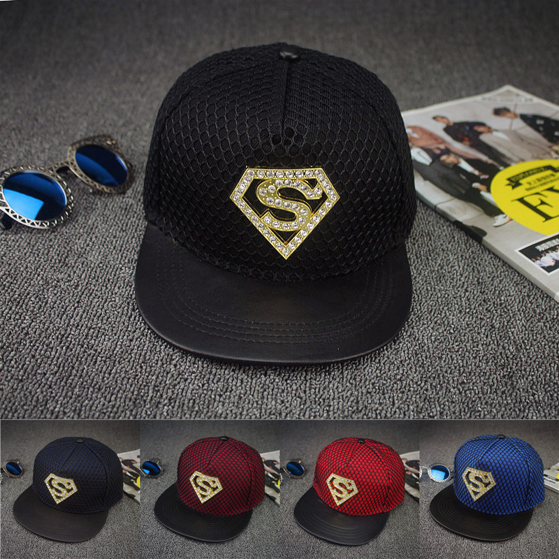 2016 new top quality cotton mesh with rhinestone metal S superman design men woman casual baseball caps hip hop Bling bboy bones(China (Mainland))