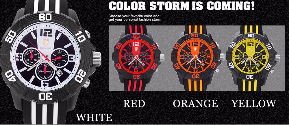 2016 новый TIGERSHARK китай бренда часы хронограф дата 30 м водонепроницаемый кварцевые аналоговые белый циферблат наручные часы резиновая лента