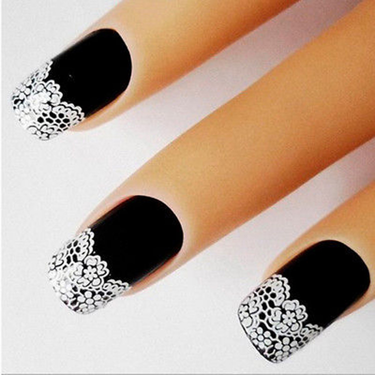 White Flower Lace 3d Nail Art Stickers Decals Self Adhesive Nail decoration NA-0123(China (Mainland))