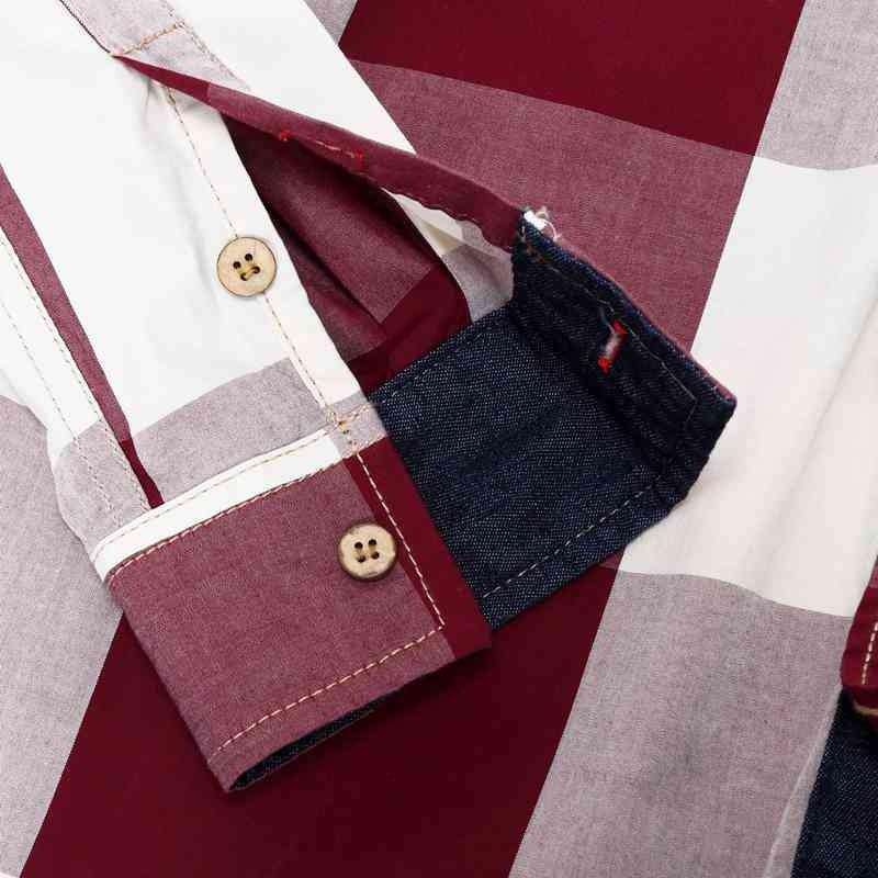 US Size Big Plaid Shirt Men\`s Long-Sleeved Shirt 100% Cotton Casual Brand Chemise Homme Fashion Business Shirts Plus Size M099 (8)