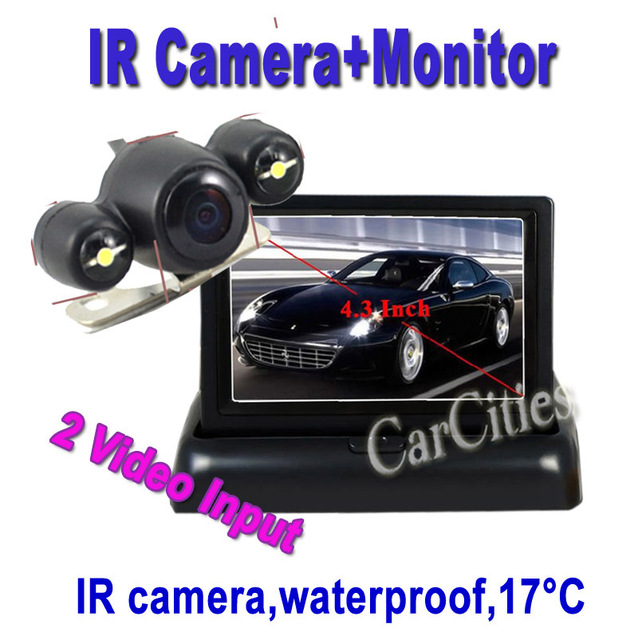 "4.3"" 2CH inch LCD monitor +IR parking camera for Car rear view/rearview car camera DVD VCR CCTV Drop Shipping warterproof 1030"