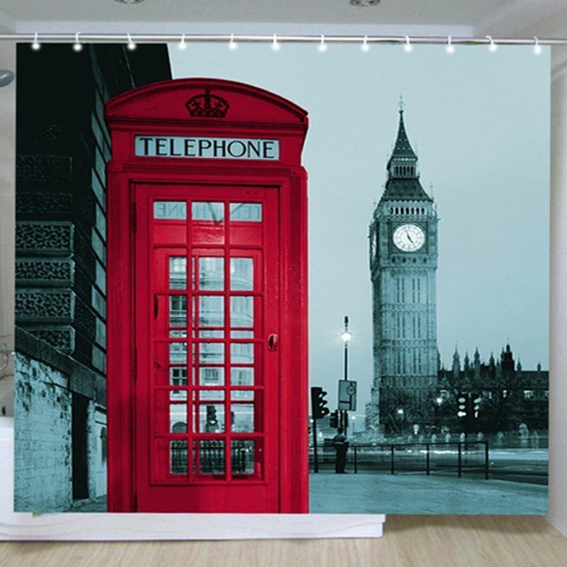Cortinas De Baño Londres: ciudad de patrón de londres Big Ben cortina de ducha de poliéster