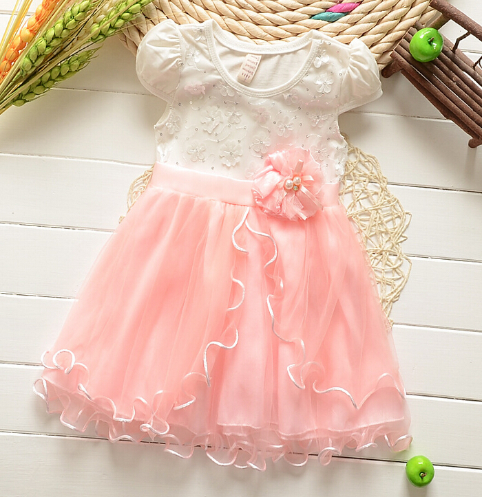 2015 new summer baby girls clothing set dresses kids girls party princess lace flower dresses clothes(China (Mainland))