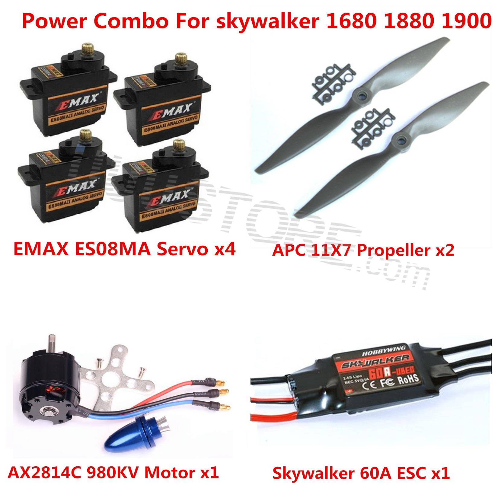 Power Combo Kit For Skywalker 1680 1880 1900 EPO RC Airplane Motor ESC Props and Servos<br><br>Aliexpress