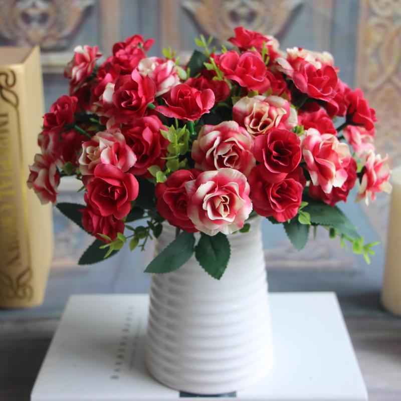 Bunch 15 heads Silk Flowers Bouquet Artificial Rose Bridal Party Floral Decor Plant Flower Arrangement