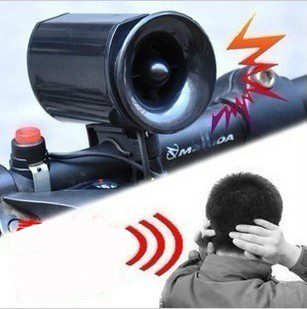 Free Shipping!!!2014 New 6 Sounds Black Bicycle Electronic Bell Alarm Siren Horn Loud Speaker(China (Mainland))