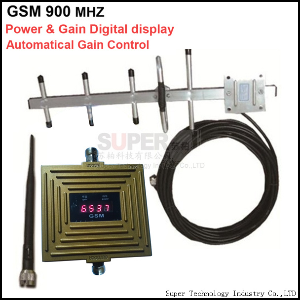 digital display gain 65dbi Auto Gain Control GSM booster,GSM repeater,mobile phone repeater w yagi antenna &10 meters cable(China (Mainland))