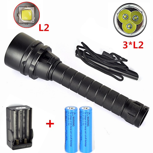 Underwater 100m 6000LM 3X XM-L L2 LED Scuba Diving Flashlight Lamp Diver Torch Waterproof 3L2 Flash Light Lantern +Charger+18650<br><br>Aliexpress