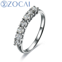 ZOCAI BRAND PRINCESS NATURAL 0.3 CT CERTIFIED H / SI DIAMOND PAVE SETTING WEDDING BAND RING 18K WHITE GOLD  W03497