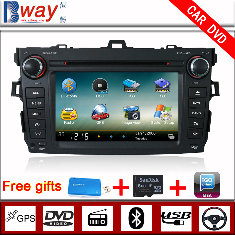 """7"""" car dvd for TOYOTA COROLLA (2007-2011) car dvd player with GPS,Radio,steering wheel control,bluetooth,support rear camera(China (Mainland))"""