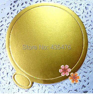 2014 New 100pcs/lot 9cm Gold Round Cake Cardboard Base Disposable Mousse Paper Board Mat Tray Free Shipping(China (Mainland))