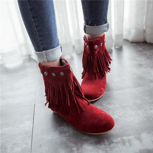 Sweet Girls Round Toe Flock Nubuck Leather Flat Casual Boots Tassel Rivet Fashion Ankle Woman Shoes Side Zipper Colors - Shop639677 Store store