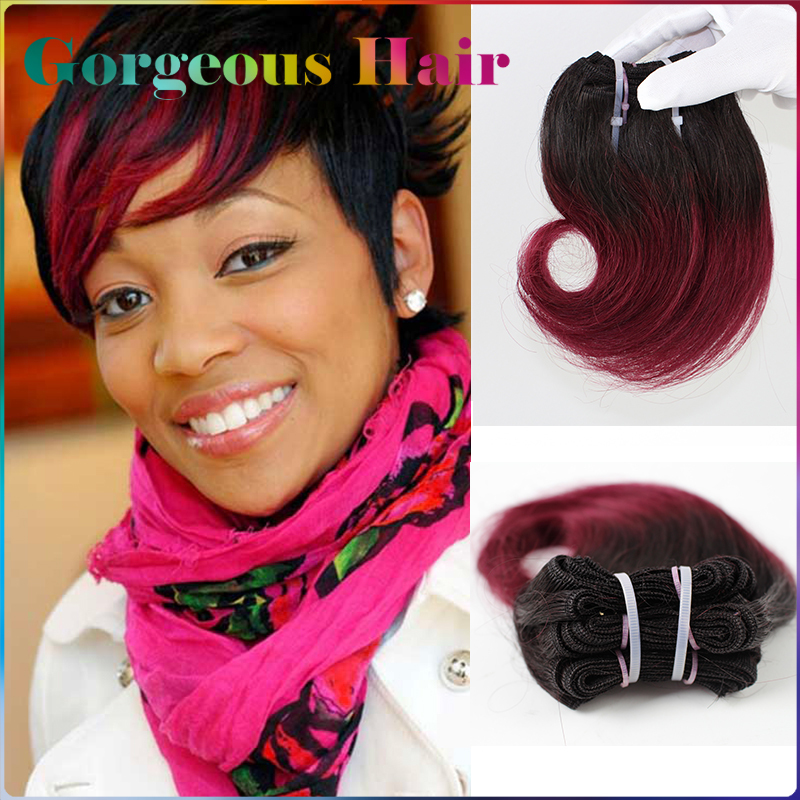 """1B# Burgundy Brazilian Human Hair Short Ombre Hair Extensions Two Tone Color 12pcs/lot Weave 300g 8"""" Ombre Weave Hair Bundles(China (Mainland))"""
