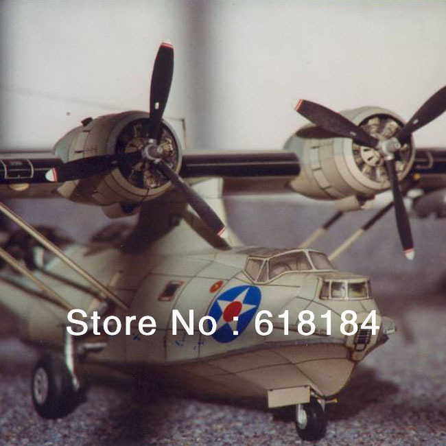 Free shipment paper model Airplane toys A3 Paper 1:33 WWII US Catalina PBY 5A Seaplane 3d puzzle patrol aircraft Military Model(China (Mainland))