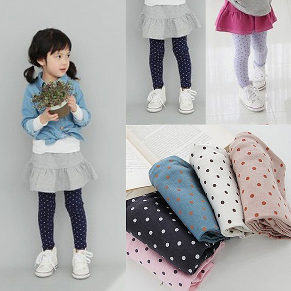 Fall Autumn 2-8Y Girls Baby Toddlers Lovely Polka Dot Leggings Kids Cotton Pants Trousers Freshipping(China (Mainland))