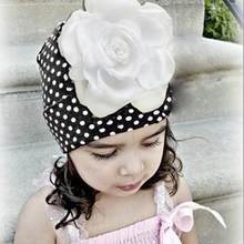 Baby Flower Dot Hat Newborn Girl Cotton Beanie Cap Infant Spring Hat Children Accessories free shipping F069
