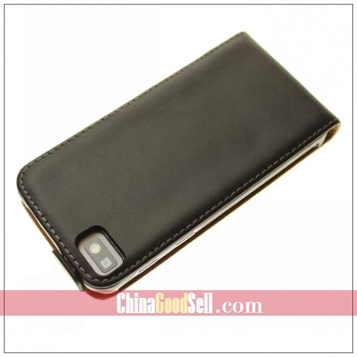 Real Leather Flip Case Cover For Blackberry Z10 with black,white + Free Shipping(China (Mainland))