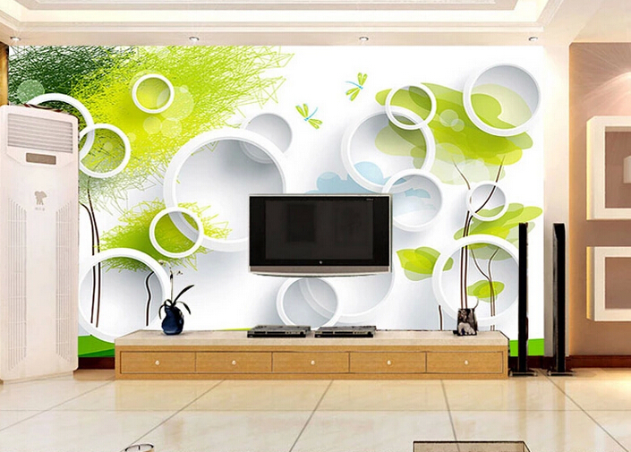 2016 new customize size stereoscopic 3d circle wallpaper for Wallpaper for living room 2016