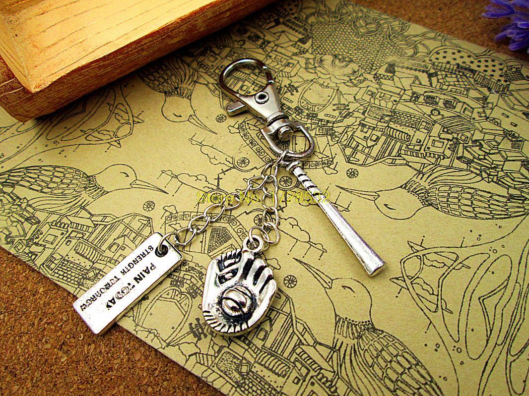 High quality Key chain baseball keychain silver plated 3D bat,Baseball glove,pain today strong tomorrow sports keychain(China (Mainland))