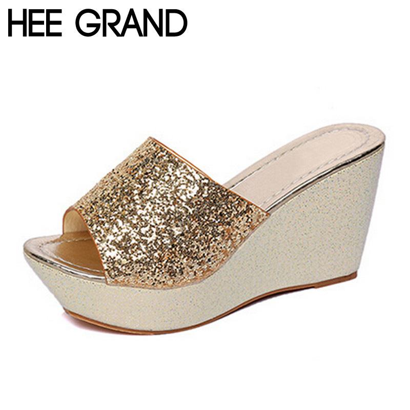 Women Slippers 2016 Fashion Bling Bling Glitter Platform Wedge Thick Bottom Casual Women Shoes Size 35-49 XWT513(China (Mainland))