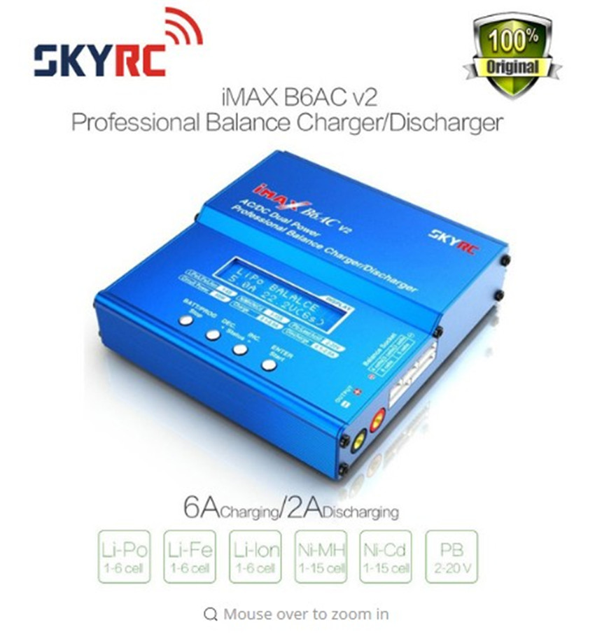 Free shipping SKYRC iMAX B6AC V2 (6A, 50W)Balance Charger/Discharger for Lipo Battery + EU/US/UK/AU plug power supply wire(China (Mainland))
