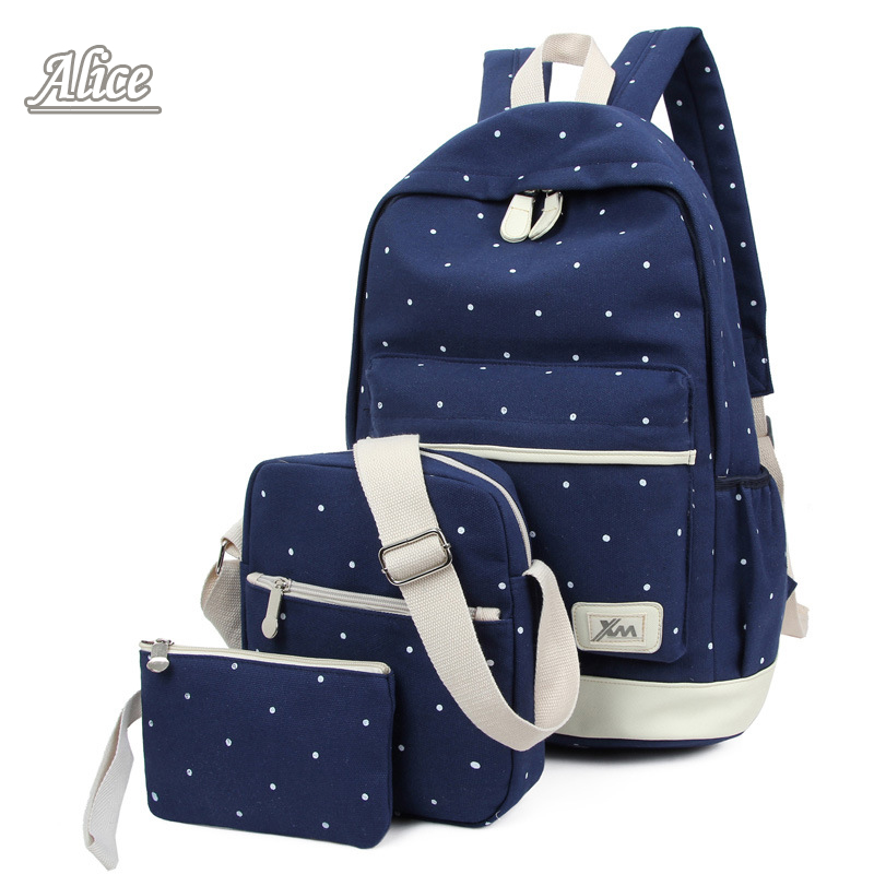 3Pcs/Sets Korean Casual Women Backpacks Canvas Book Bags Preppy Style School Back Bags for Teenage Girls Composite Bag Mochila(China (Mainland))