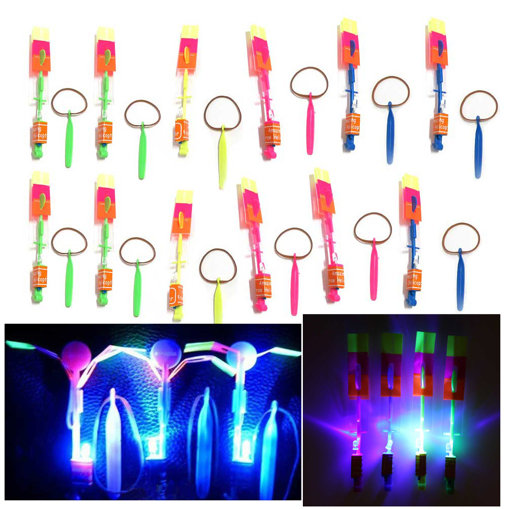 12Pcs Amazing LED Light Arrow Rocket Helicopter Flying Toy Party Fun Gift Free Shipping K5BO(China (Mainland))