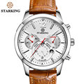 STARKING Brown Genuine Leather Sport Watches 2017 Russian Military Watches Army Men s Wristwatch 30M Water