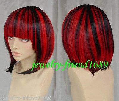 Wholesale heat resistant LY free shipping New font b wig b font Cosplay Black Red Mix